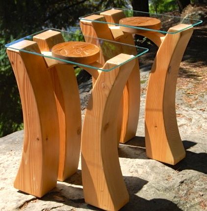 Woodland Side Tables with Carving Feature