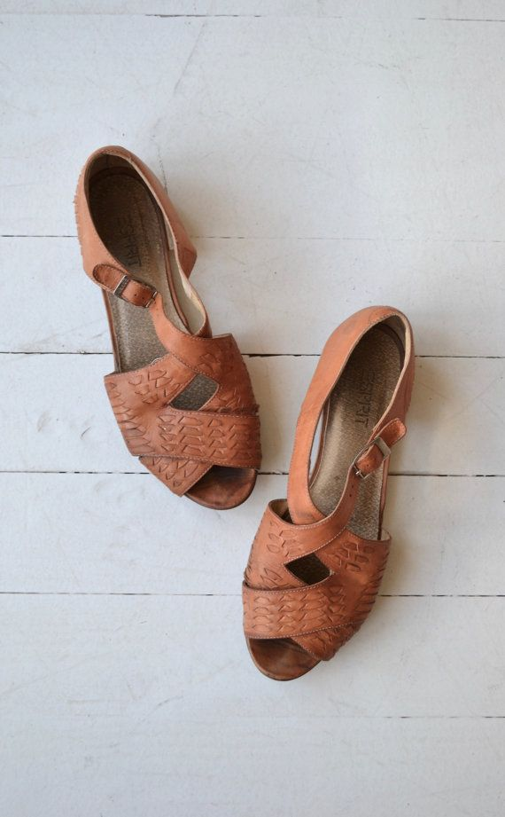 8b708dab9b5d Vintage 1980s Esprit tooled leather sandals with cross straps ...
