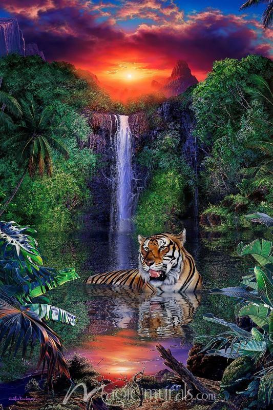 Tiger Falls Pemandangan Binatang Buas Dan Hewan