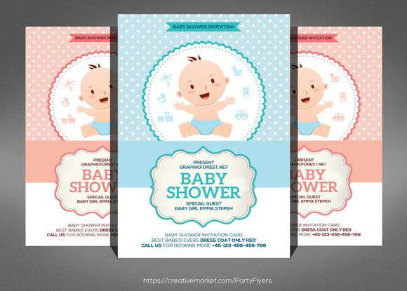 Baby Shower Invitation Card Psd By Party Flyers On Creativemarket
