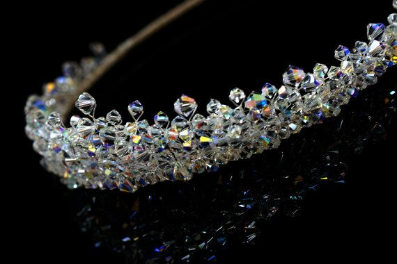 Silver Handmade Bridal Tiara made with Swarovski Crystal Clear AB Beads on Etsy, $103.20