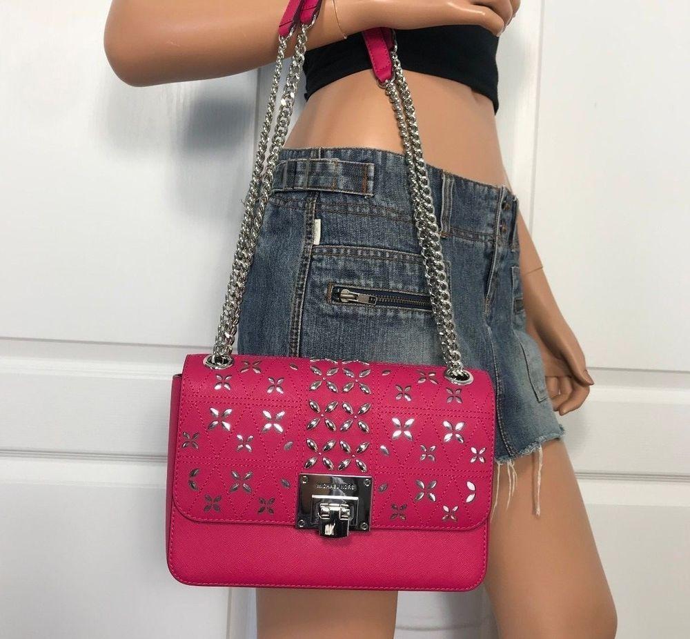 ff5a876fe8be61 NWT Michael Kors Tina Stud Medium Shoulder Bag Crossody Ultra Pink Leather  Chain #MichaelKors #Shoulderbag
