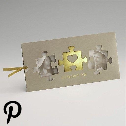 Einladungskarte Einsteckkarte in gold mit Ausgeschnittenen PuzzleTeilen und Goldfolienprägung Einladungskarte Einsteckkarte in gold mit Ausgeschnittenen PuzzleTeilen...