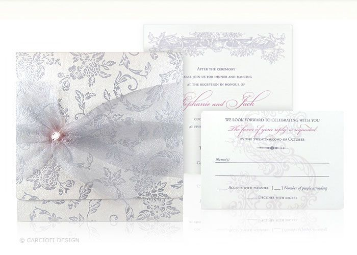 luxury, pocketfold, square, wedding invitation, foil stamping, ribbon, crystals