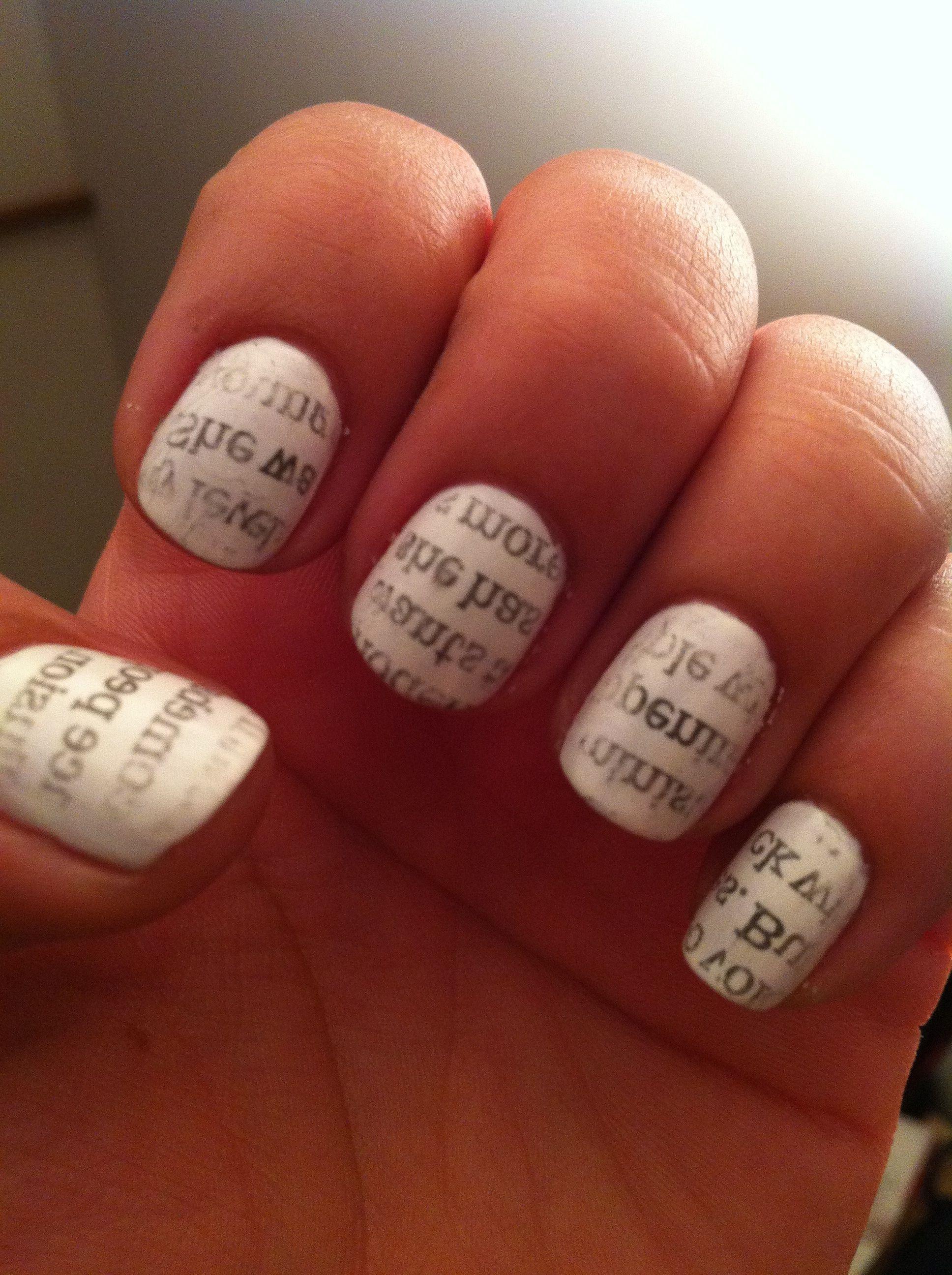Newsprint nail art-gonna try it! | ○Nails○ | Pinterest | Newsprint ...