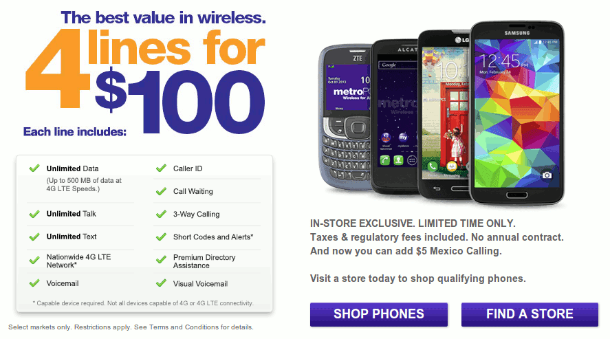 Metropcs Brings Back 4 Smartphone Lines For 100 Promotion Caller Id The 100 Smartphone