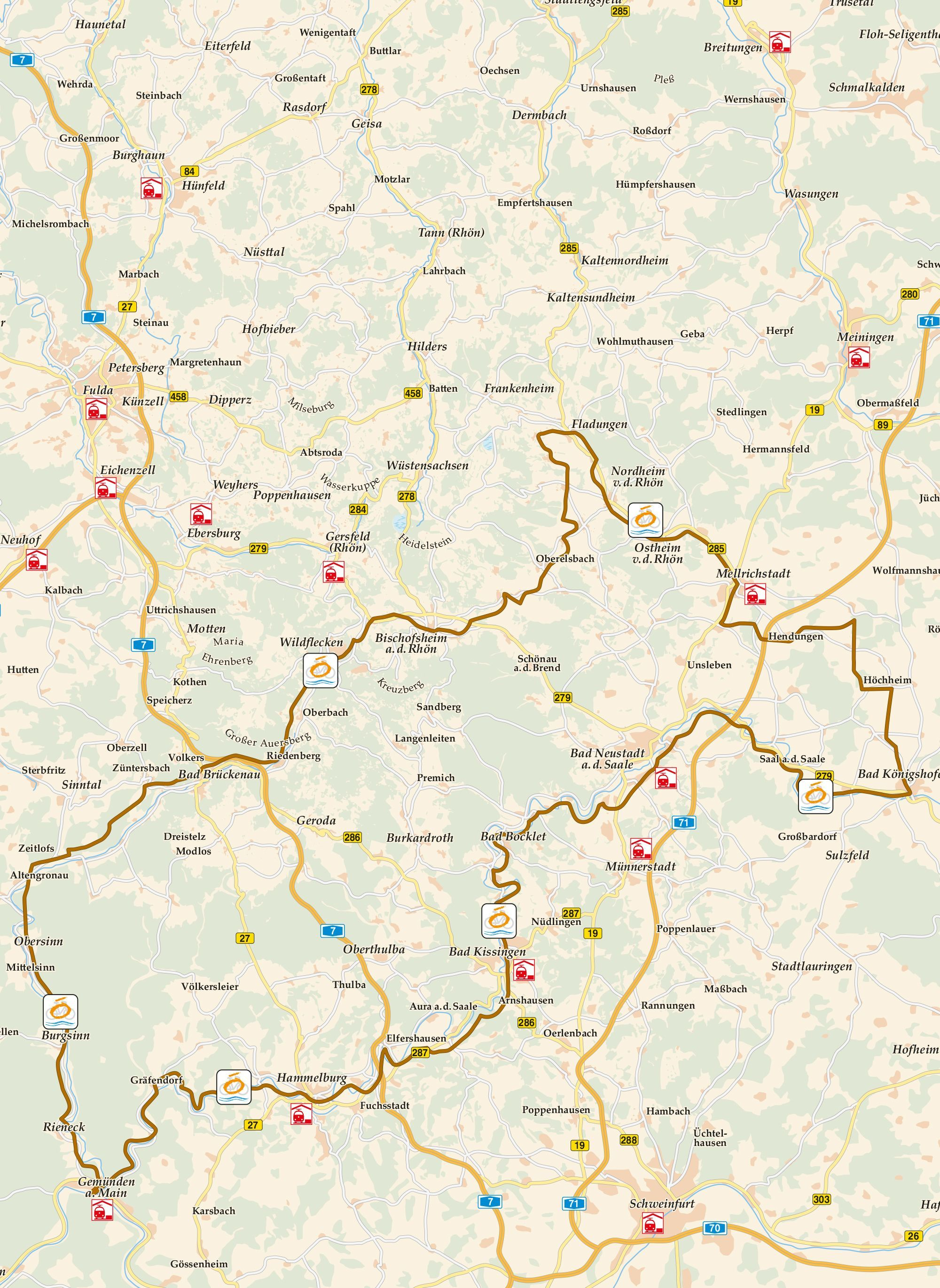Vom Main Zu Rhon Karte Radweg Rad Radfahren