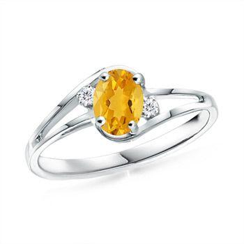 Angara Citrine Diamond Wedding Band Ring Set in White Gold TOLWN