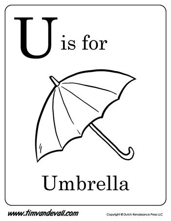 U Is For Umbrella Letter U Coloring Page Alphabet Book Black