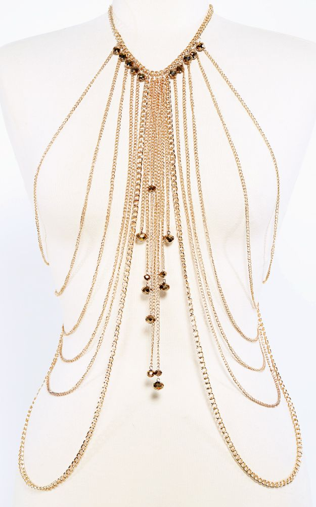 Body chain with gems over a simple dress for the holidays!  | MakeMeChic.com