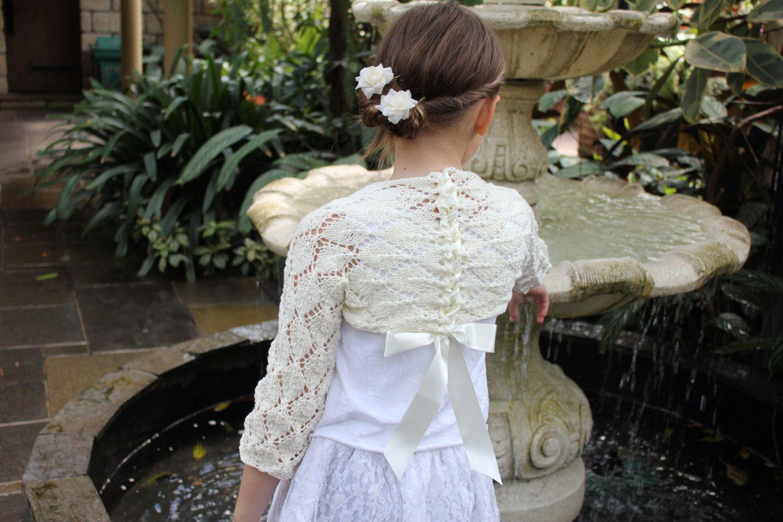 Little Girls Lace Shrug in Ivory. $28.75 | Wedding! | Pinterest