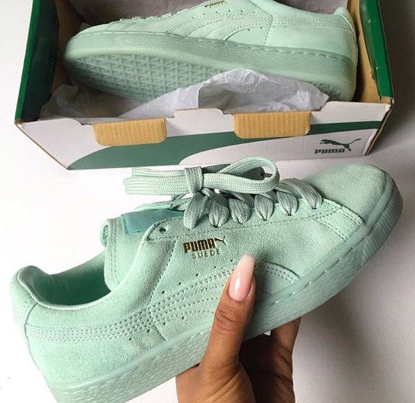 Mint green Pumas | Sneakers, Fashion, Sock shoes