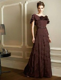 Jade Couture style K3384 size 12 Brown Mother of the Bride/ Special Occasion Gown - 2 Piece, dress is beaded across bodice, includes matching jacket.