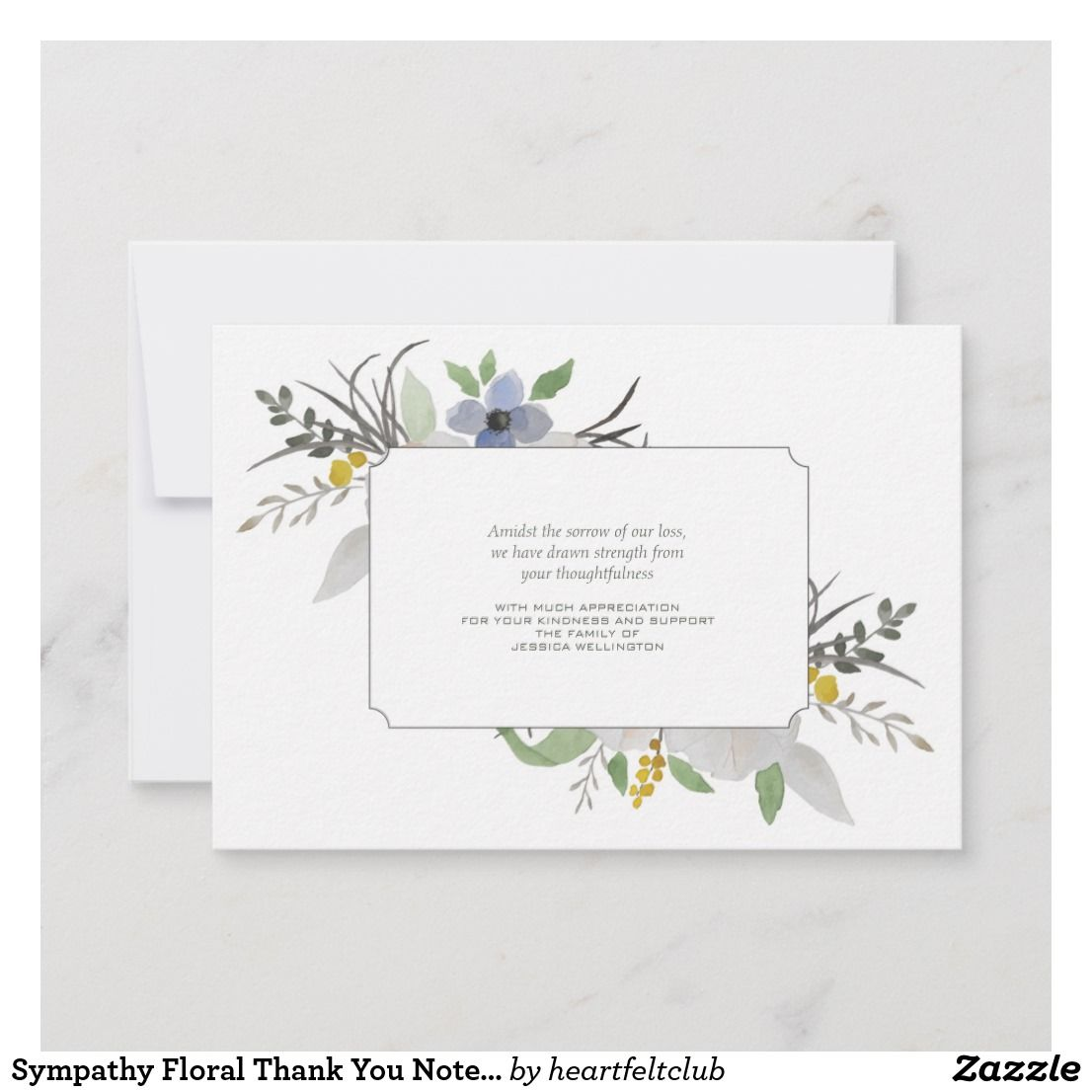 Sympathy Floral Thank You Notecard Note