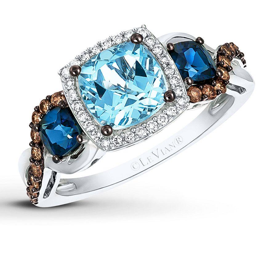 Le Vian Sapphire Ring 1/4 ct tw Diamonds 14K Vanilla Gold Lo4gJjr