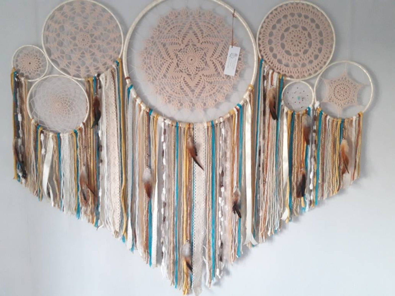 Photo of Dreamcatcher, large dream catcher,  wall hanging,  rustic home decor,  farmhouse wall decor,  girlfriend gift