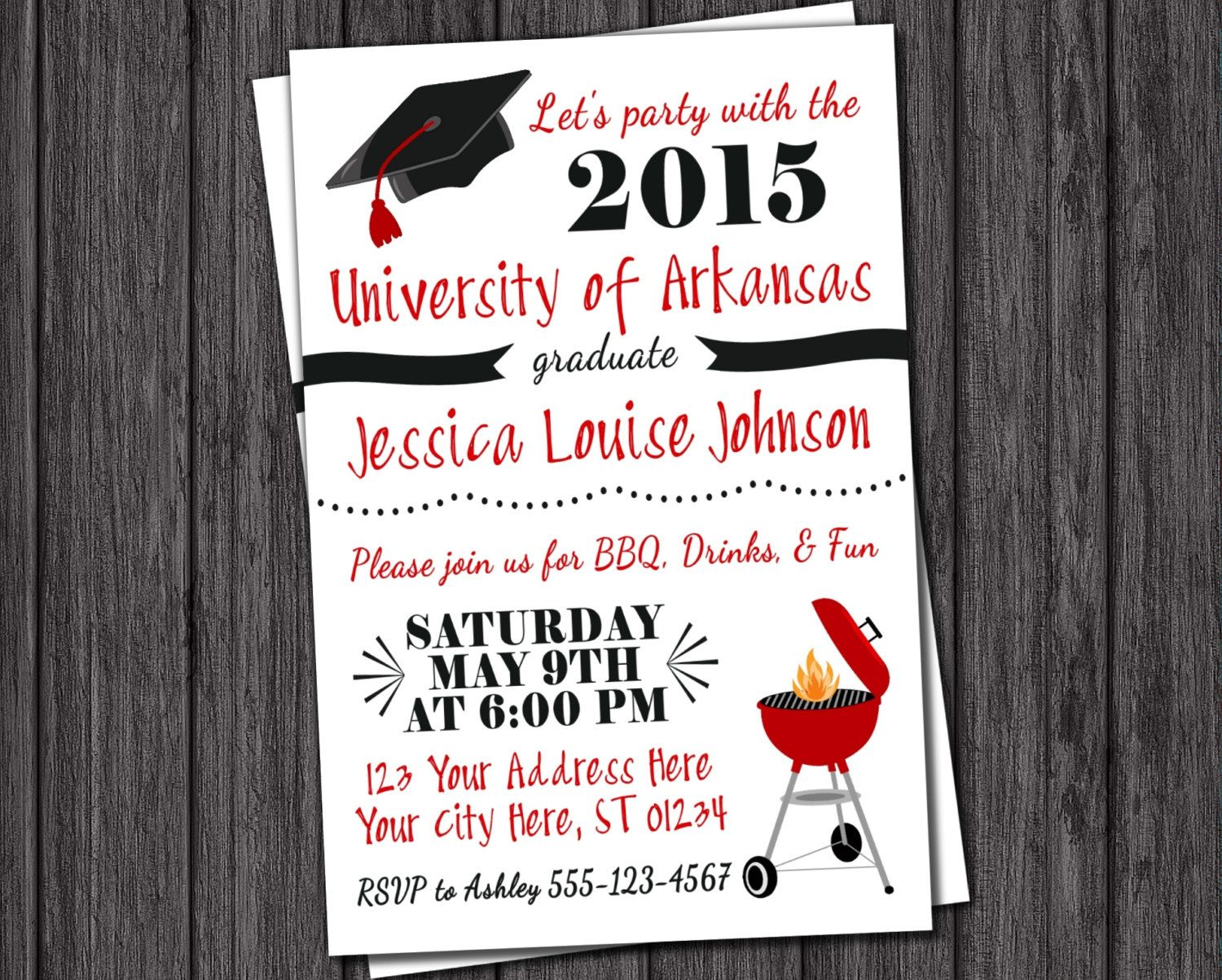 BBQ Graduation Party Invitation ANY University or College Class