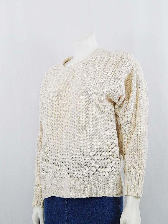 77bfec0721fbc Vintage Women's Shaker Sweater Off White Long Sleeve Knit Genuine ...