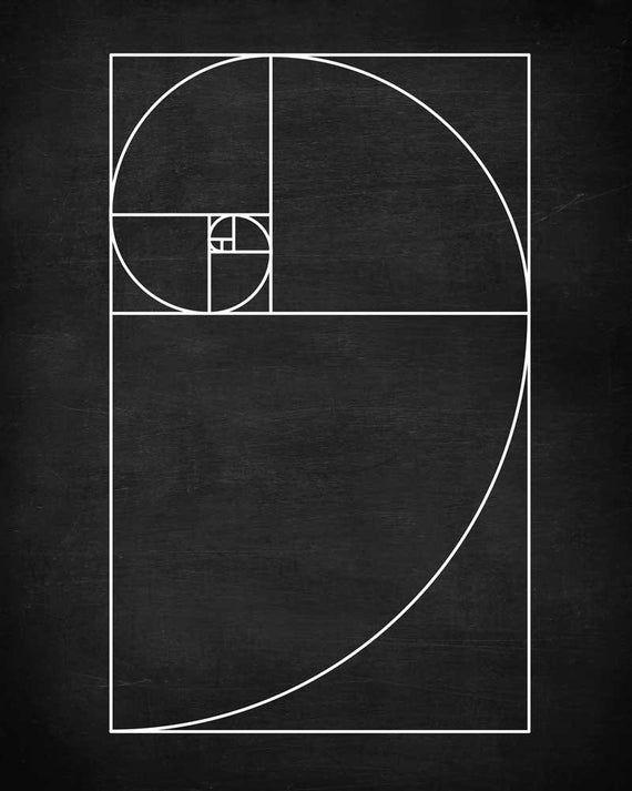 Fibonacci Spiral Wall Golden Ratio Wall Art, Mathematics Fibonacci Numbers, Back To School, Fibonacc