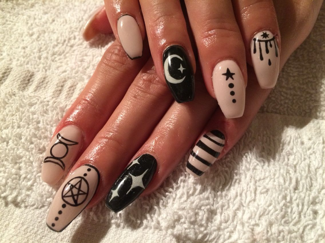 Witch Nails Coffin Shape Witchy Nails Witch Nails Goth Nails