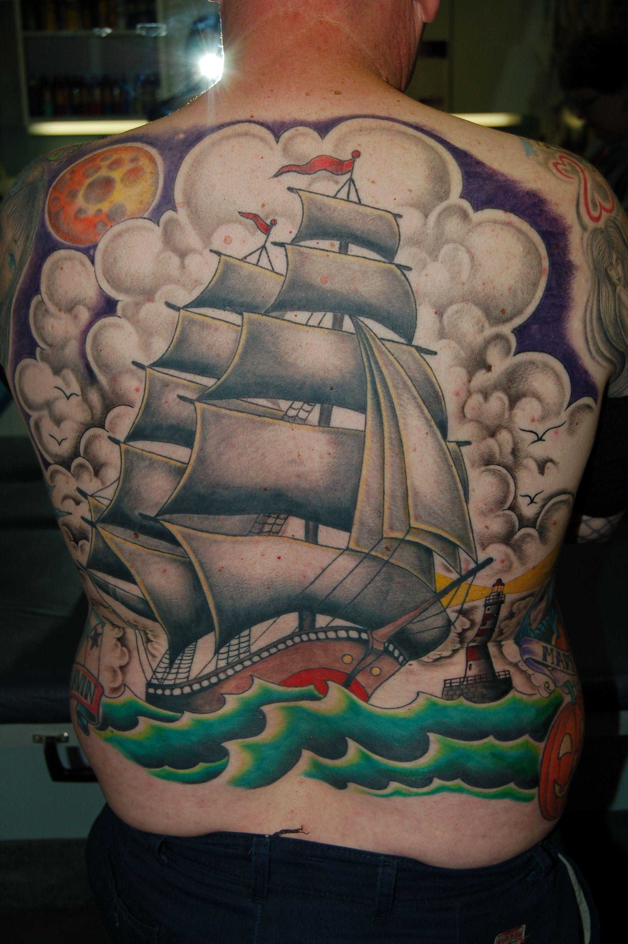 a36cbaecbfa6f Dragon Moon · Tattoo Studio · Tattoo Artists · Old School Ship -  #backpiecetattoo #tombeasleytattoos #dragonmoontattoo #tattoosformen  #menstattoos # ...