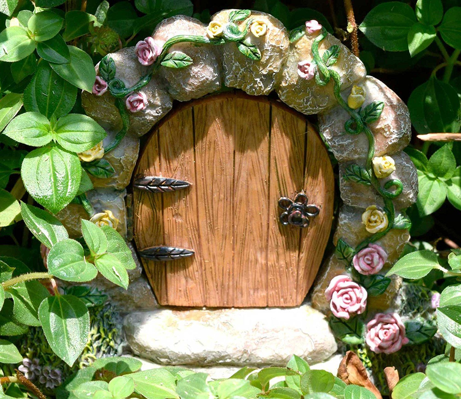 Miniature Fairy Garden Gnome Home Door (That Opens) with Hand Painted Flowers, Vines, Moss, Care and Cuteness by Twig & Flower.