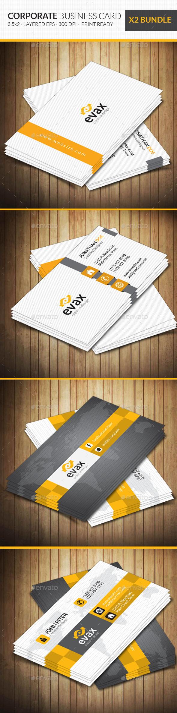 Corporate Business Card Bundle Ai Illustrator Cs5 3 5x2 Abstract