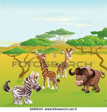 40+ Safari Animals Clipart Landscape View