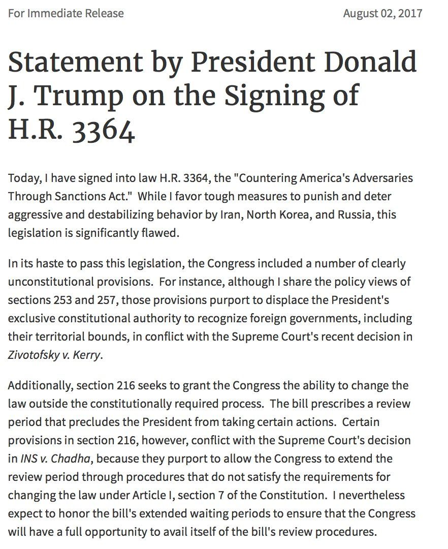 The Congress is checking the WH which forgets, never knew or doesn't care (more likely), that the legislative and executive are co-equal branches of government. Click link to read page 2 of this document.