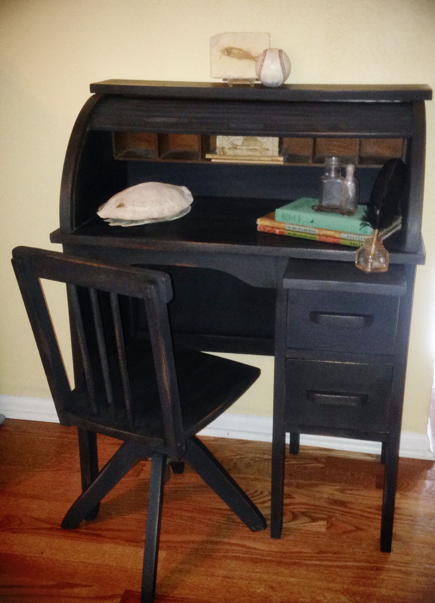 Superb Childs Roll Top Desk And Chair Painted In Annie Sloan Dailytribune Chair Design For Home Dailytribuneorg