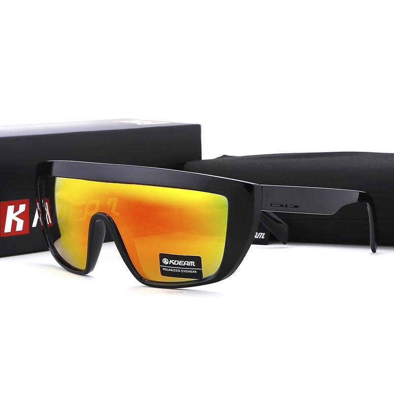 02c409cba6a FuzWeb KDEAM One-piece Polarized Sunglasses Men Oversized Shield Sport With  Box