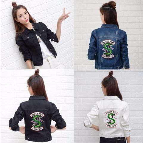 a696ccd1c5b Riverdale Jeans Denim Jacket South Side Serpents Streetwear Tops Spring Jean  Women Jacket Harajuku Hip Hop Denim Clothing Female