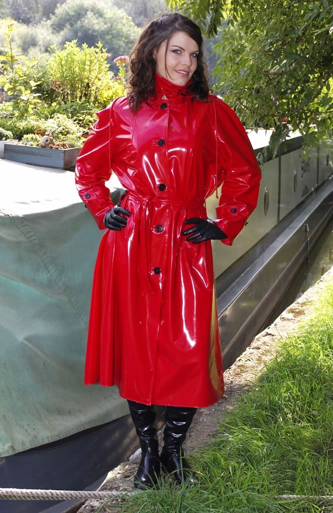 Red PVC Raincoat girl stopped my heart in the park! | A LADY AND ...