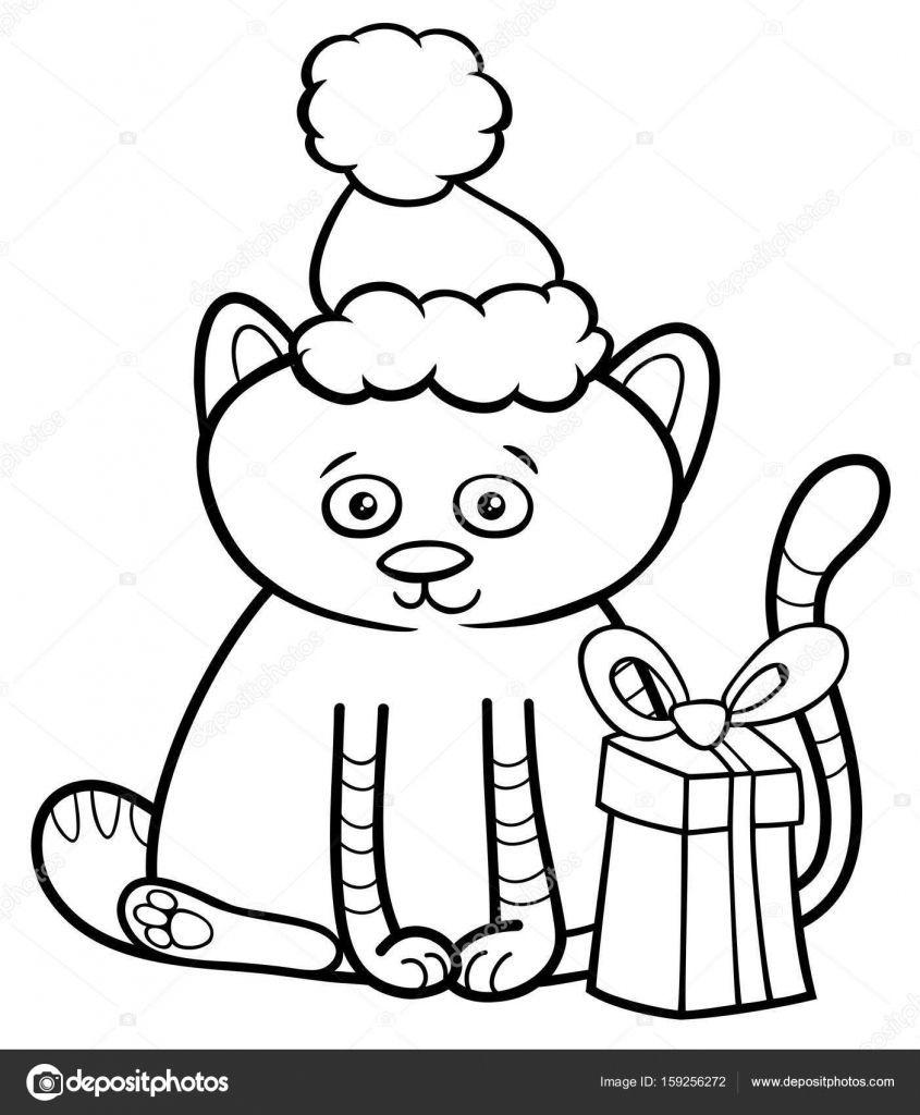 Kitten Op Kerstmis Kleurplaten Boek Stockvector