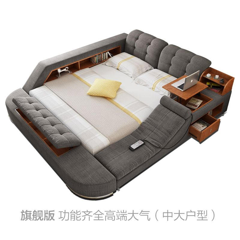 Massage Bed Tatami Bed Fabric Bed Double Bed Storage Bed 1