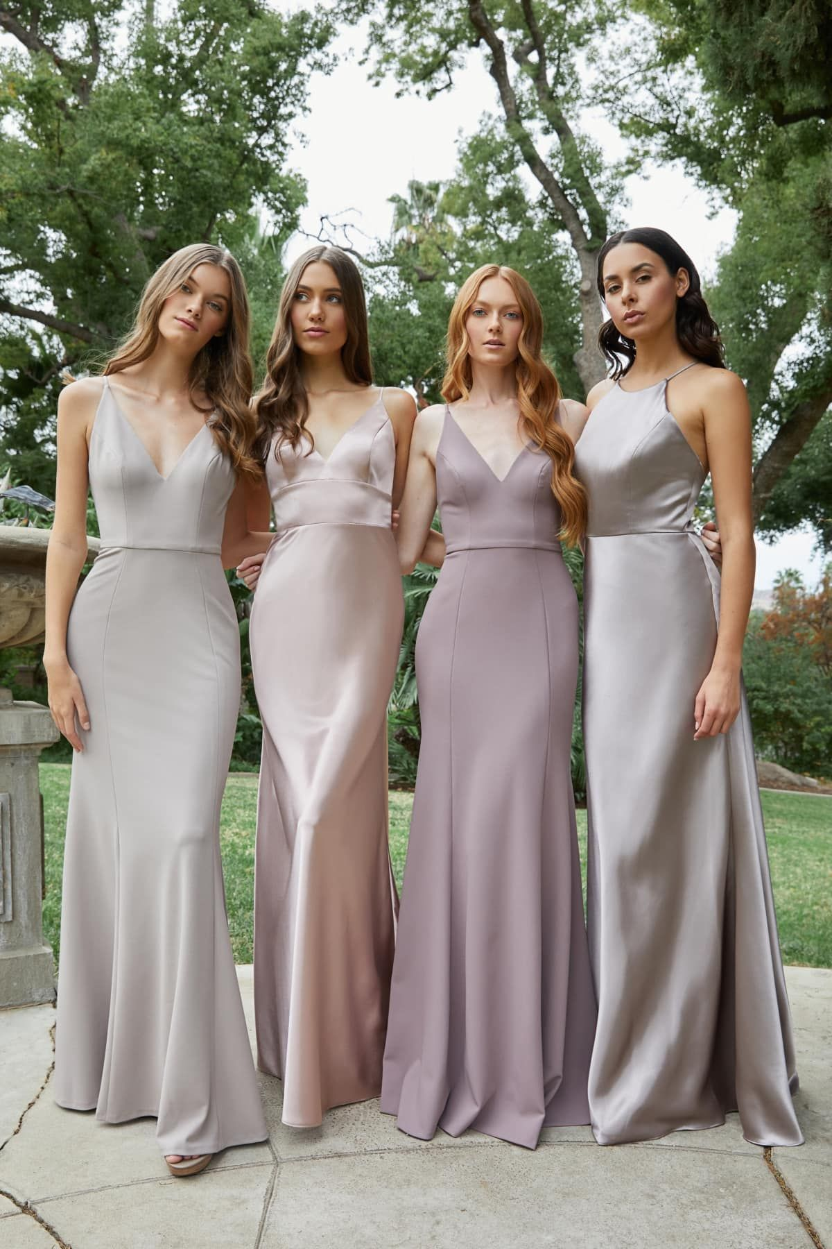 Malibu Wedding By Amber Events Purple Bridesmaid Dresses Bridesmaid Grey Bridesmaid Dresses