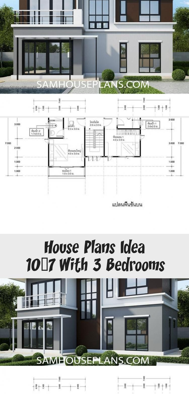 House Plans Idea 10x7 With 3 Bedrooms Sam House Plans Modernhouseplansrectangle Modernhouseplansranch In 2020 House Plans House Plans Australia Modern House Plans