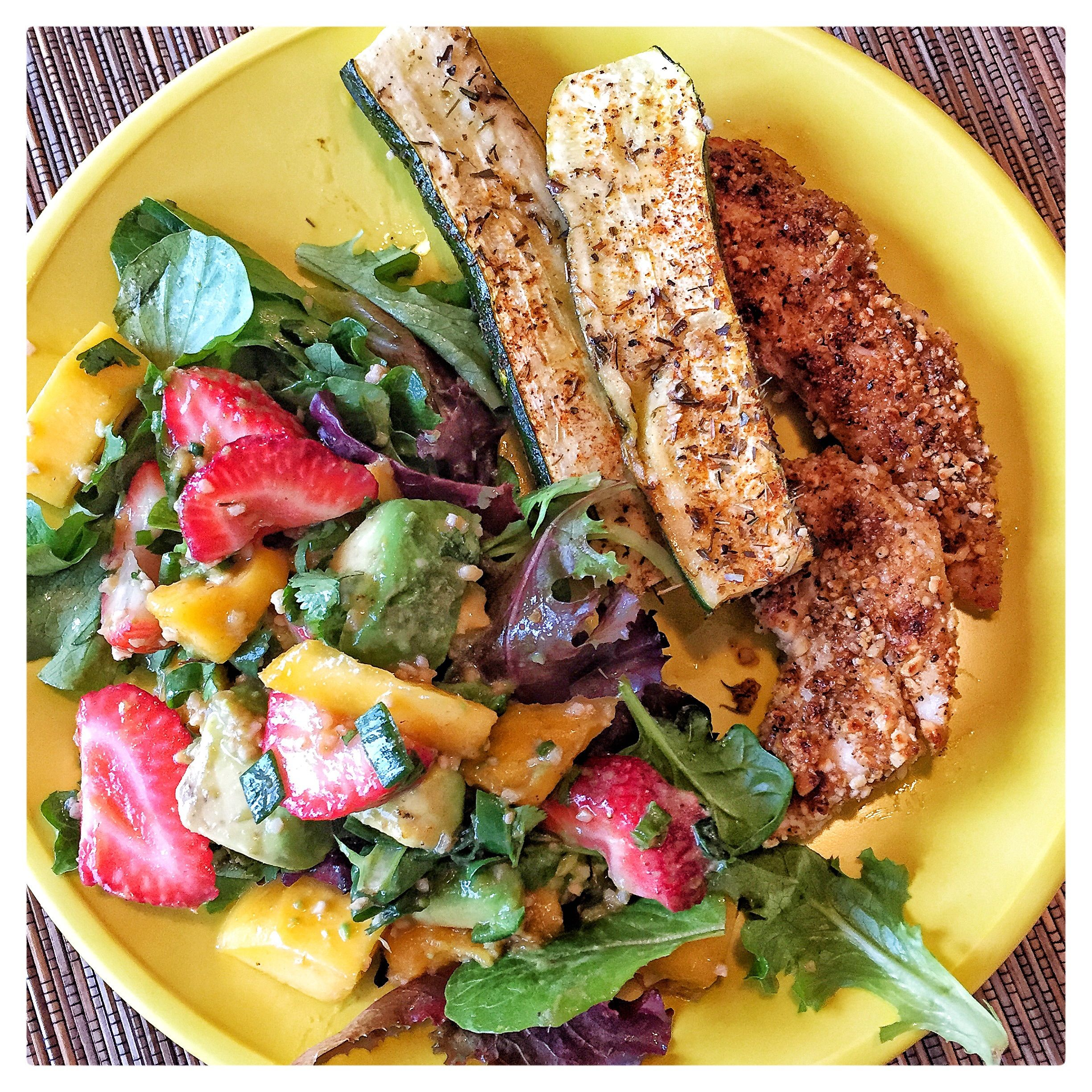 """You've got to try these Whole 30/Paleo friendly crispy """"breaded"""" chicken strips! I just made them last night when we had company over and they were received with great approval :)"""