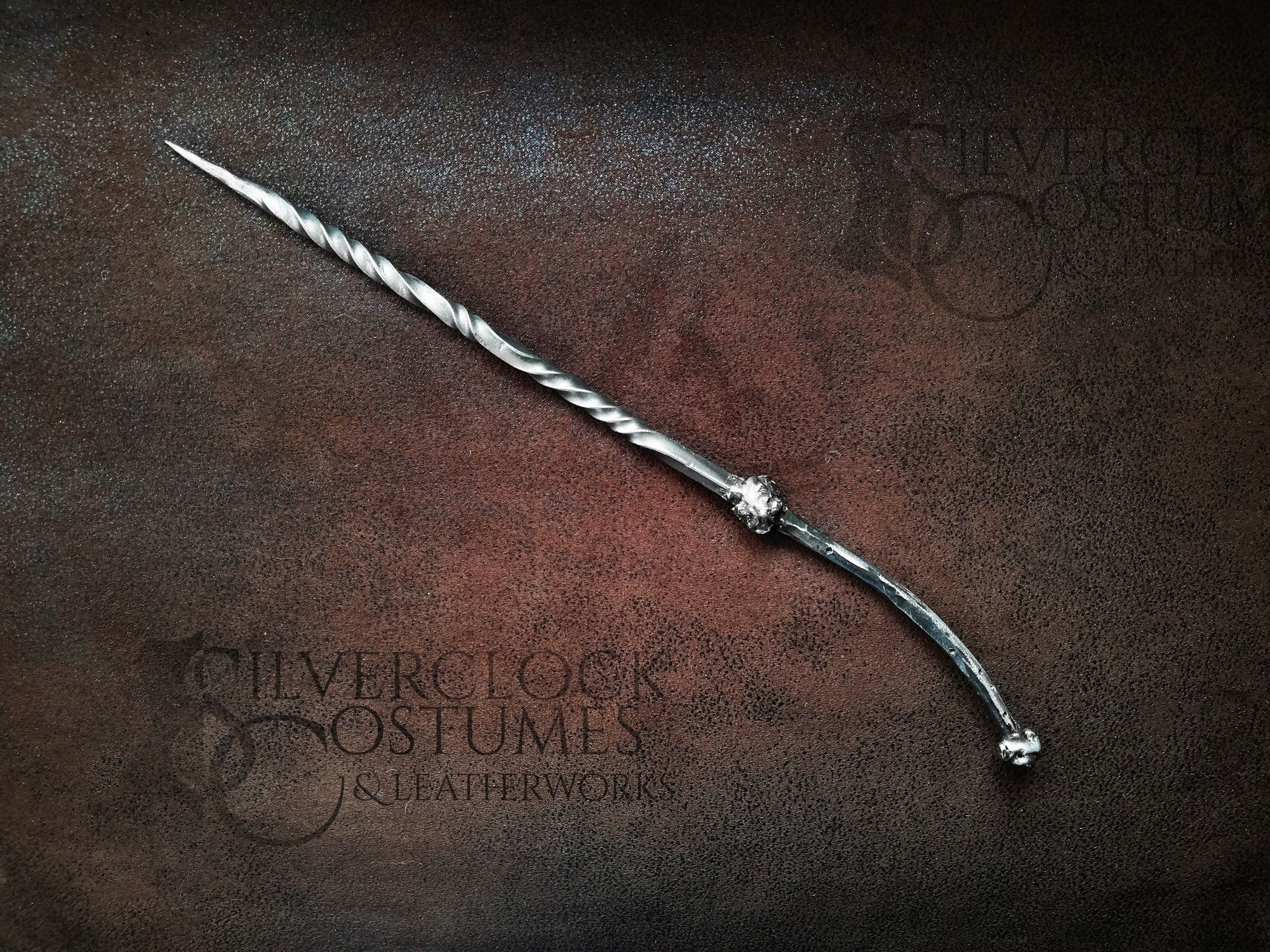 Hand forged steel magic wand for witch wizard costume