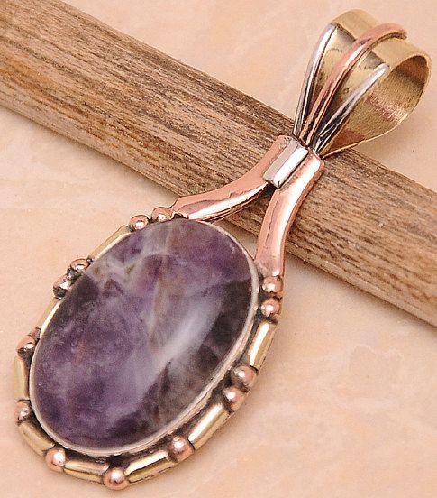 Purple Fluorite gemstone  Necklace Pendant  Focal by mandalarain, $20.00