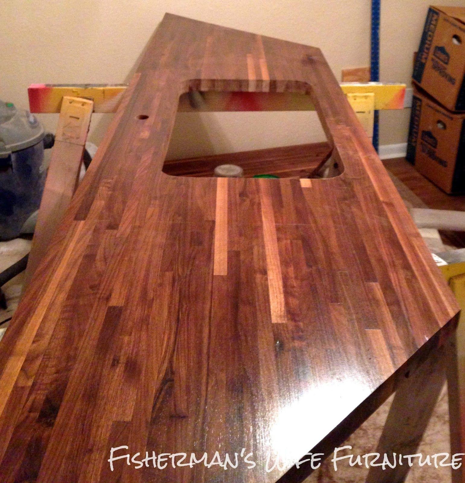 Fisherman S Wife Furniture Diy Butcher Block Countertops Installation Tutorial For Lumber Liquidators Counters Plus I Hadn T Thought Of Going This Dark