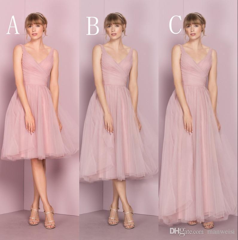 Cheap Pink Tulle Bridesmaid Dresses V Neckline Sleeveless Pleats ...