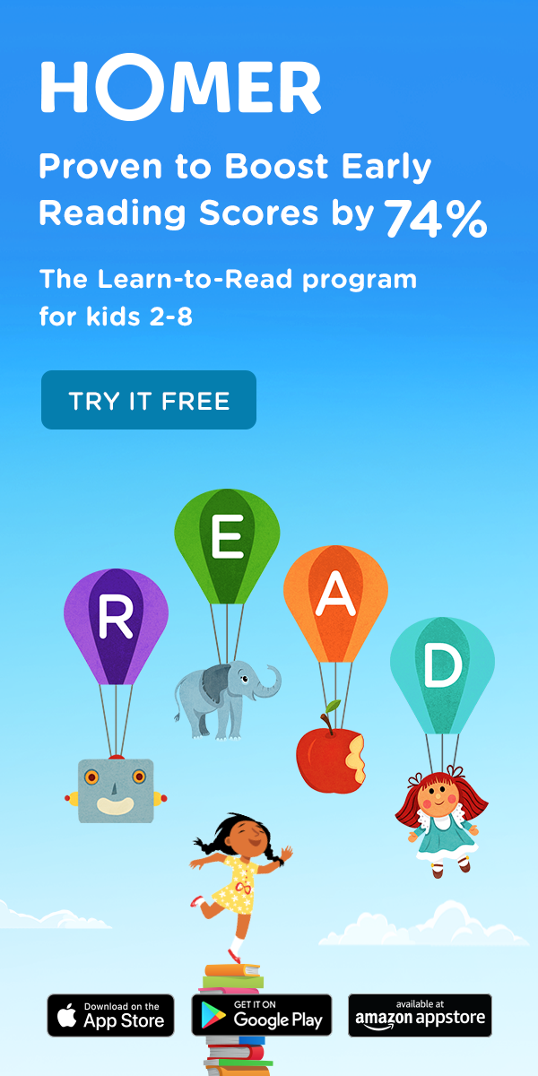 HOMER's Learn to Read app for kids is the only early learn