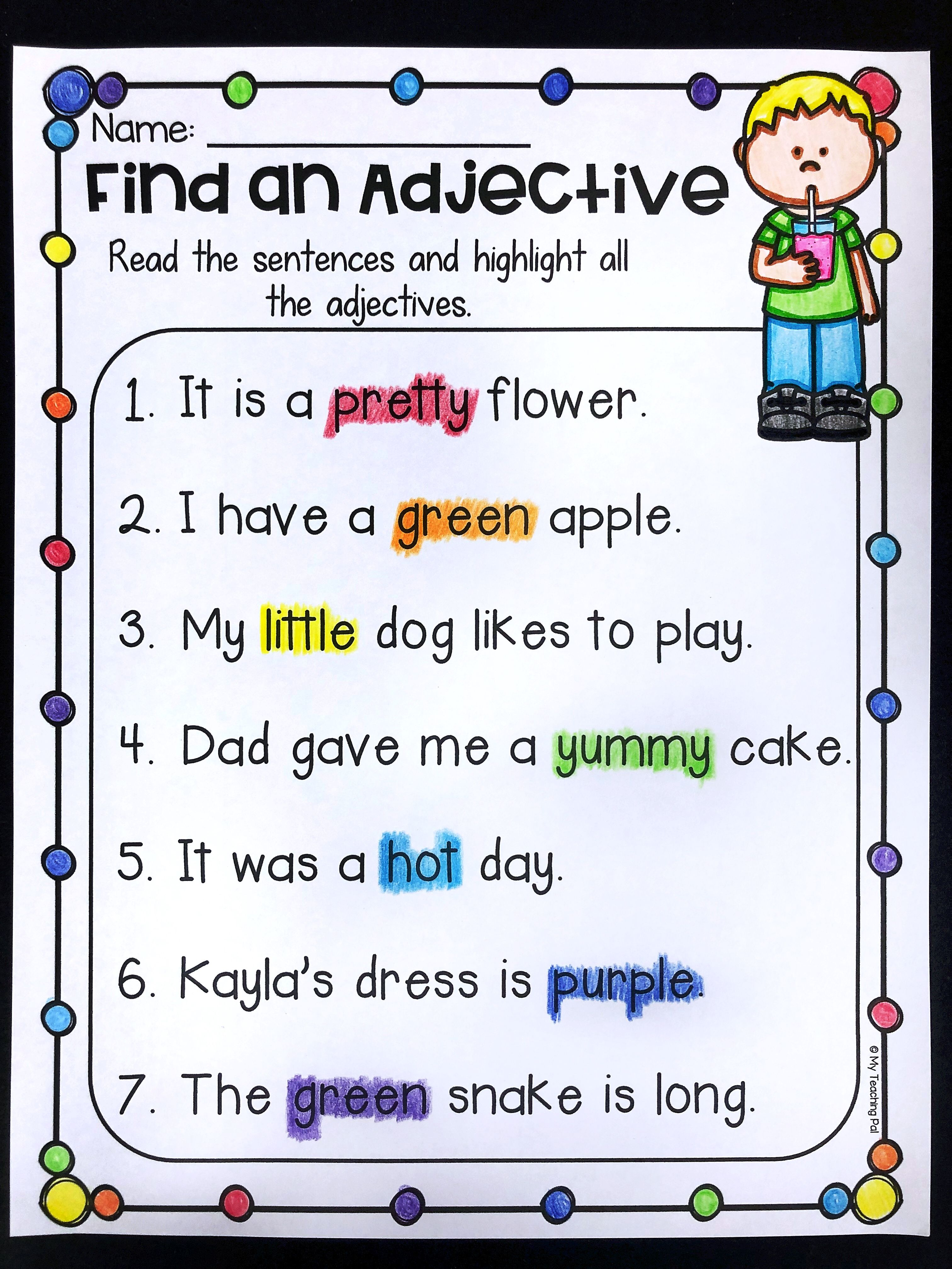 Grammar Worksheet Packet Nouns Adjectives And Verbs Worksheets Adjective Worksheet Teaching Adjectives Grammar Worksheets