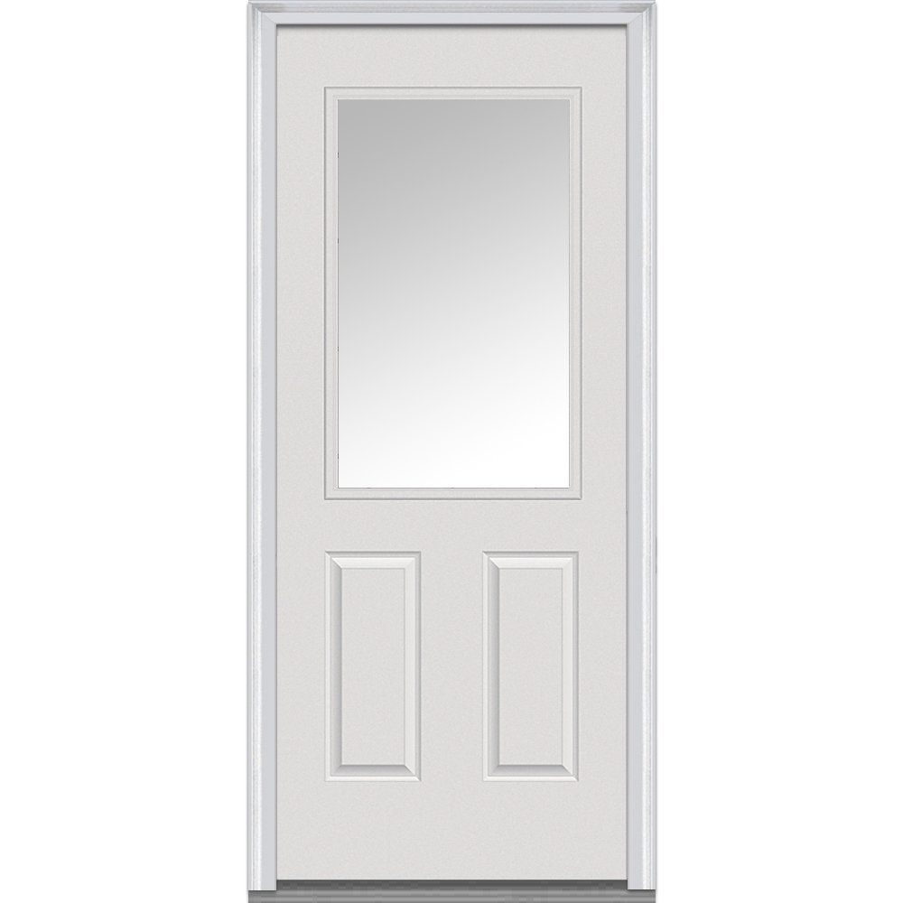 430 National Door Company Z000713l Steel Primed Left Hand In Swing Prehung Front Door 1 X2f 2 Lite 2 Panel Clear With Images Mmi Door Steel Doors Exterior Front Door