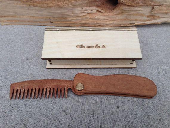 Folding Beard Comb Made of Sapele the Best от
