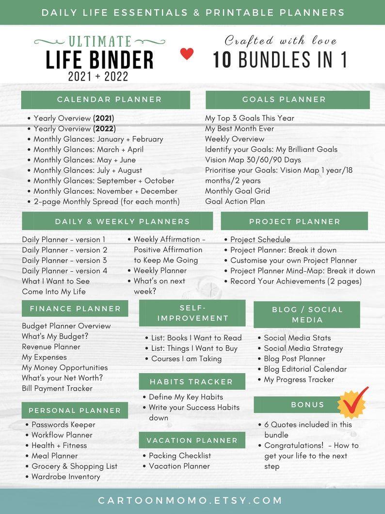 Ultimate Life Binder, Printable Planner, Budget Pl