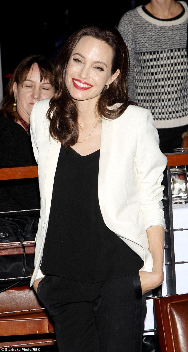 A-list pals: Angelina was joined by Panic Room actress Jodie Foster at the presentation...