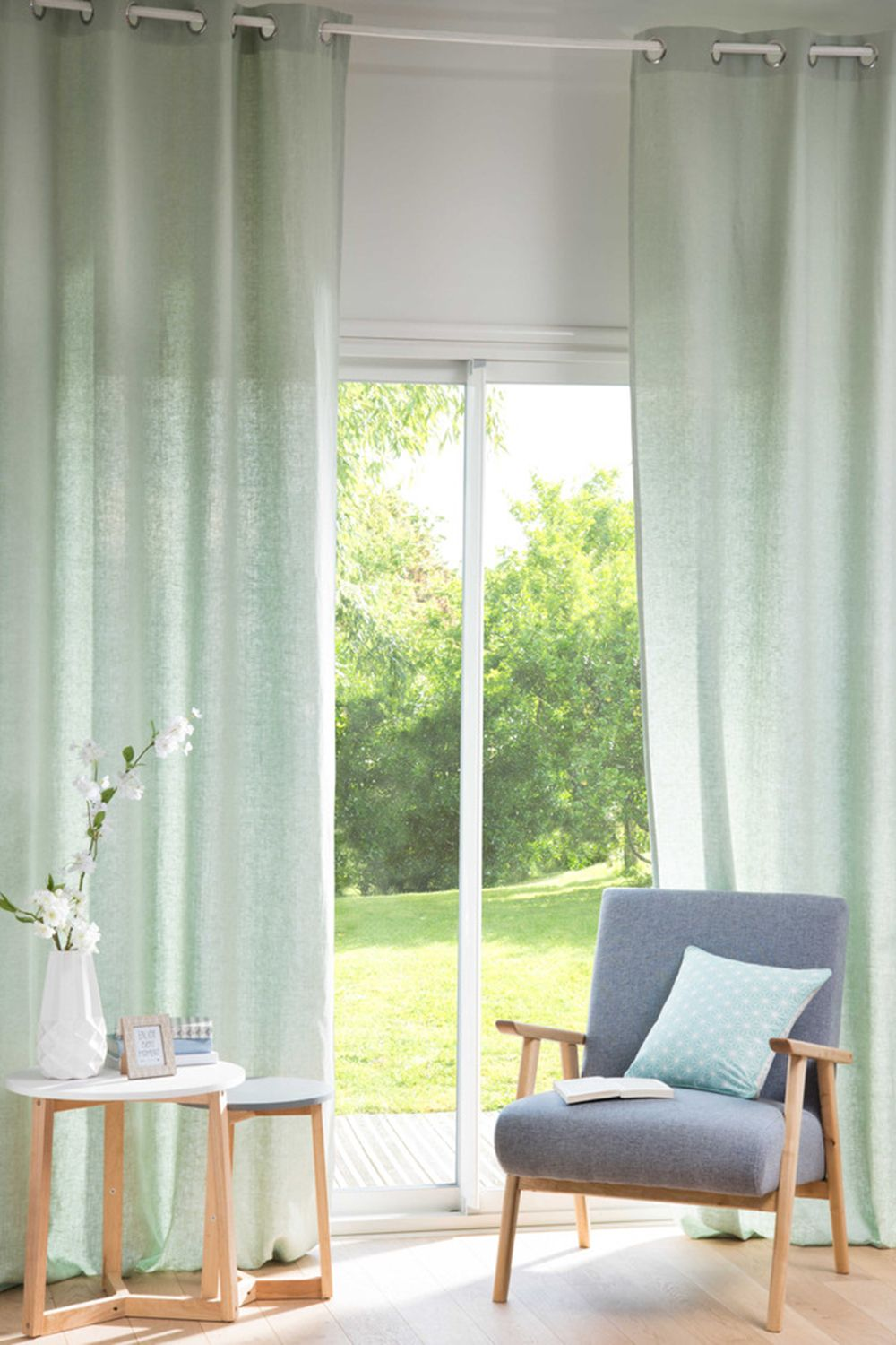 awesome light green living room curtains   Single Light Green Washed Linen Eyelet Curtain 130x300 ...