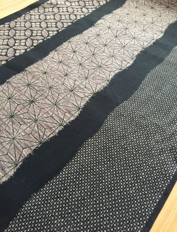 Kasuri style in black and grayish brown Japanese dobby cotton fabric ...